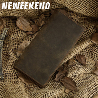Vintage Men's Purse Genuine Cowhide Leather Wallets Purse For Men Man Male Long Short To Choose Card Coin Holder 1008