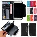 Moderno estilo de moda destacável 2-em-1 multi-funcional caso com portadores de cartão de carteira de couro sintético para iphone 7 7 plus