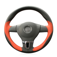 Hand stitched Black Orange Leather Car Steering Wheel Cover for Volkswagen VW Tiguan Lavida Passat B7 Jetta Mk6