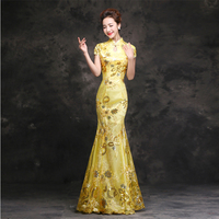 Female Full Length Sequins Mermaid Gowns Vintage Slim Prom Qipao Chinese Style Bridesmaid Wedding Dress Evening Formal Gown