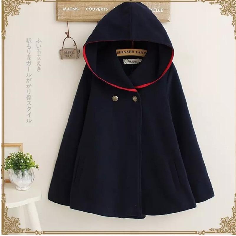 UHYTGF осень зима Короткое шерстяное пальто для женщин плюс размер плащ с капюшоном шерстяное пальто мода Свободный рукав летучая мышь шерстяная Верхняя одежда 684 - Цвет: Navy