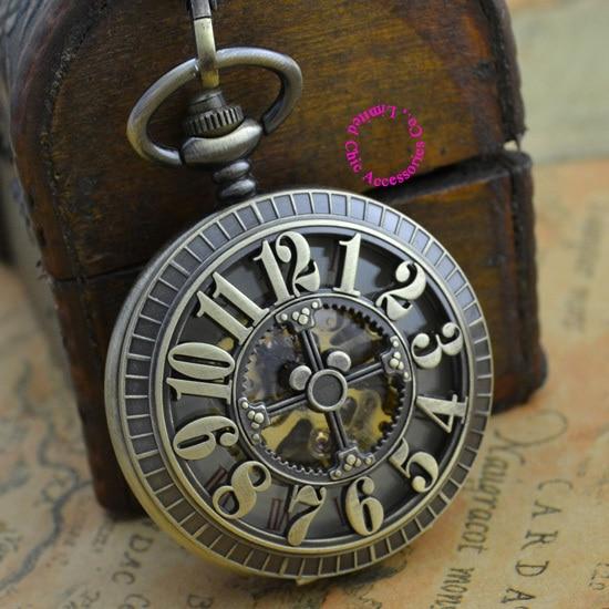 الجملة المشتري الميكانيكية ساعة جيب الرجال جديد البرونزية الرجعية خمر فوب الساعات الكلاسيكية العربية عدد مع سلسلة نوعية جيدة-في ساعات جيب بها سلسلة من ساعات اليد على  مجموعة 2