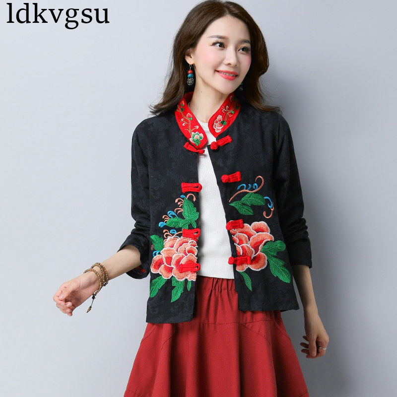 2018 New Spring Autumn Embroidery Coats Women's   Basic     Jackets   Retro Women Cotton Linen long-sleeved Top A767