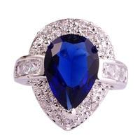 lingmei Wholesale Fashion Rings Pear Cut Sapphire Quartz & White Topaz 925 Silver Ring Size 6 7 8 9 10 Women Men Jewelry Gift