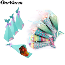 OurWarm Under the Sea Party Candy Boxes Little Mermaid Supplies Theme DIY Gift Box Birthday Decorations Kids