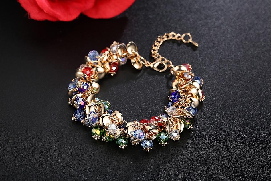 BELAWANG 18 Fashion Charm Bracelets & Bangles Fashion Crystal Stone Gold Bracelet For Women Friendship Bracelets Femme Jewelry 7