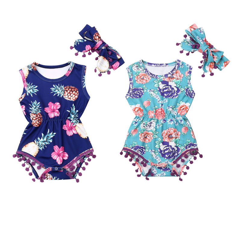 Infant Newborn Baby Girls Boys Bodysuits Headband 2pcs Clothes Playsuit Outfit Sleeveless Tassel Floral Jumpsuit(China)