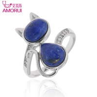 Hot 925 Sterling Silver Jewelry CZ Diamond Natural Lapis Cat Adjustable Rings For Women Bague Femme