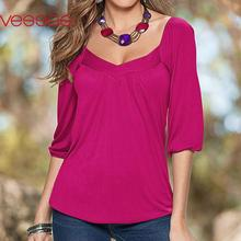 Women Female Fashion Casual Three-Quarter Sleeve Ruffled Fit Top Loose Stylish Blouses Rose Red S/M/L/XL Blusas Y Camisas Mujer