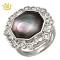 Hutang Black Mother of Pearl Pure 925 Sterling Silver Ring Fashion Style Brand Jewelry