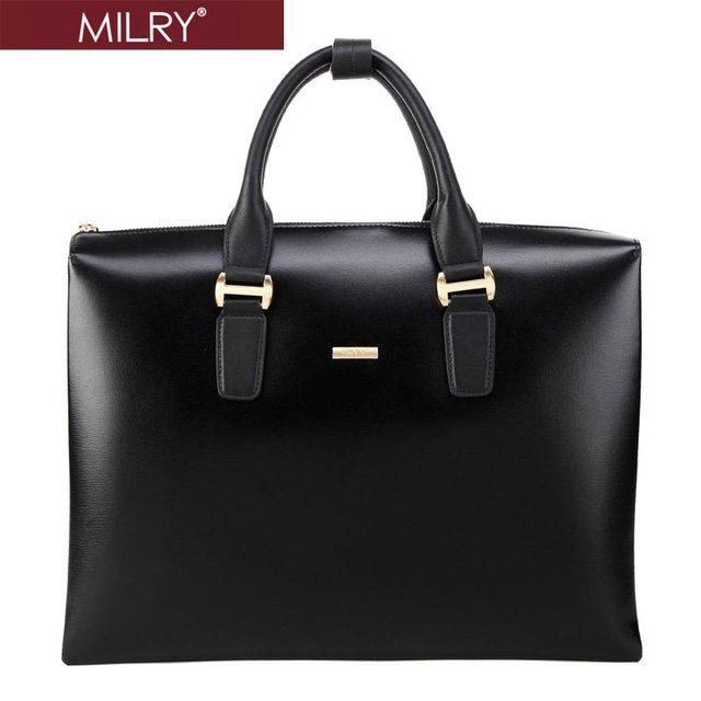 Free Shipping MILRY 100% Genuine NAPPA Leather men Briefcase Laptop bag shoulder messenger bag Black P0084-1