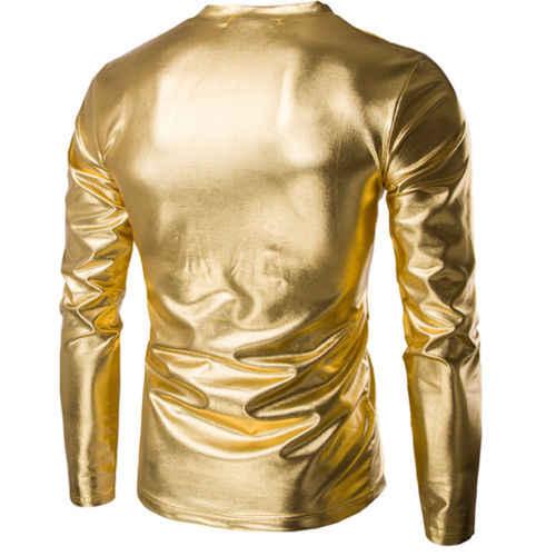 Hombres PU cuero brillante manga larga Camiseta Tops oro plata negro ajustado Fit Casual cuello en V camiseta ropa M-3XL