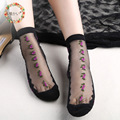 2016 new Korean style lace flower rose woman  floral silk spring fall short glass women socks