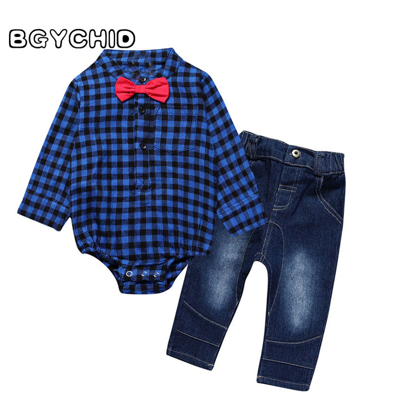 Newborn Baby Boys Clothing Sets 2pcs Plaid Cotton Bodysuit+ Denim Pants + Bow Infant Baby Boy Clothes Sets Gentleman Suit 2pcs set newborn baby boy clothes gentleman grey rompers with bow jeans baby boys clothing set