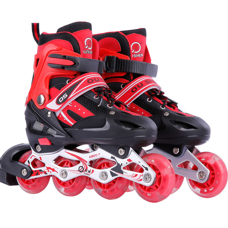 1 Pair Adult Children Inline Skate Roller Skating Shoes Adjustable Washable All Flashing Wheels Patines 3 Colors For Girls Boys 1 pair lovely children inline ice skate roller skating shoes with brake adjustable washable pe aluminum alloy stent pu wheels