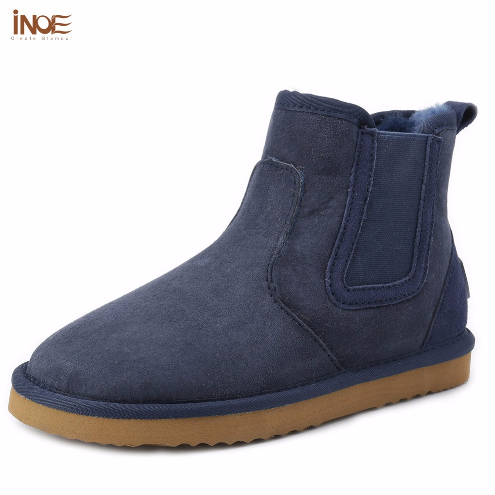 INOE 2017 fashion style genuine sheepskin leather short ankle suede winter snow boots for women nature fur lined winter shoes natural handmade brand waterproof bewell maple wood watch with wooden case