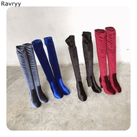 Luxury royalblue flock Woman Long Boots concise nice women's Over the knee Boot Thick Heel Female Shoes Autumn Winter Outfit