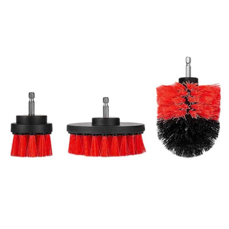 3 Pcs Power Scrubber Set di Pennelli Bagno Trapano Scrubber Spazzola per La Pulizia Cordless Trapano Kit di Fissaggio di Alimentazione Scrub Pennello Rosso
