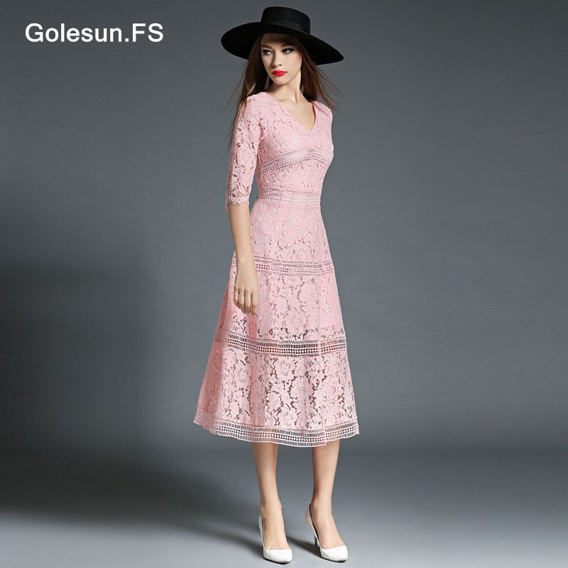 New Arrival Women Hollow Lace Floral Solid Long Sleeve Dresses Club Party Dress High Quality Casual Cute Dress Retro 8848
