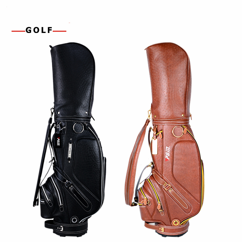 PGM Golf PU Leather Bag for Men Standard Golf Bag Waterproof Golf Club Bag Golf Practice Training Aids Bolsa de Golf Equipments pgm genuine golf standard durable bag waterproof lady golf capacity standard ball bag embroidered package contain full set club