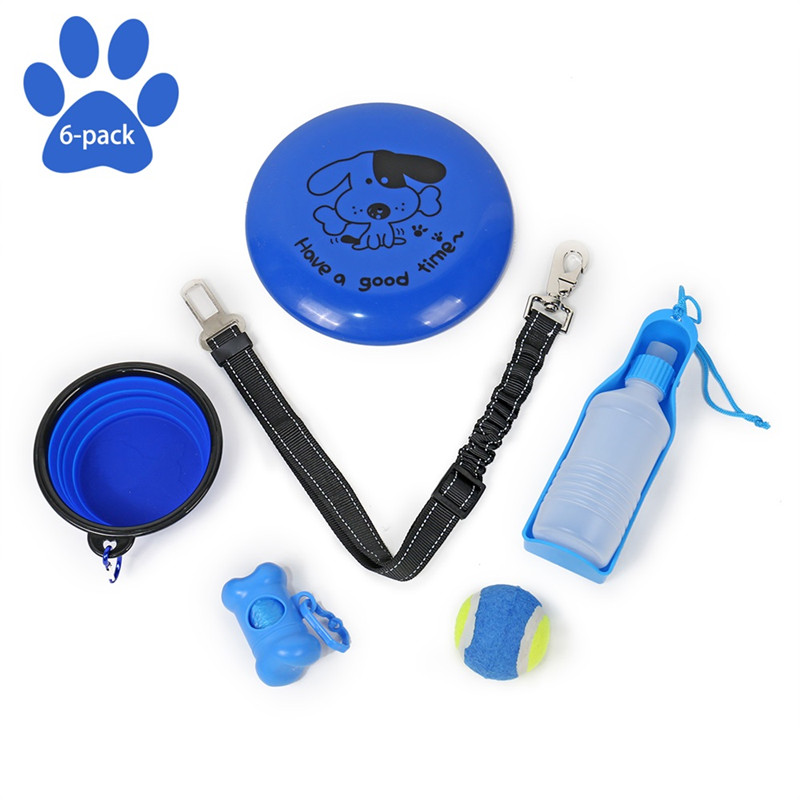 6 PCS/Set Outdoor Daily Used Sets Pet Playing Toys Set For Drinking Bottle Bowl Ball Dogs Training Pet Travelling Sets