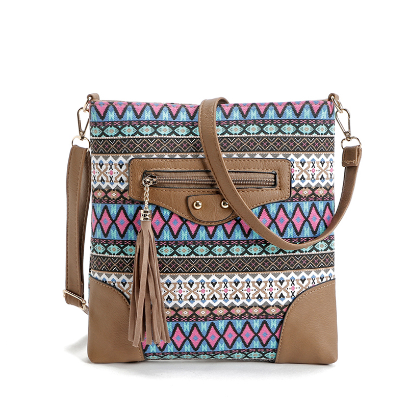 Bohemian style canvas bag for women messenger bags lady small vintage national c