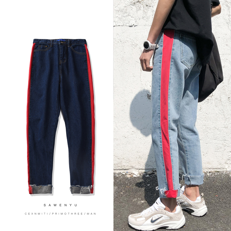2018 New Men Fashion Casual Classic Blue Side Stripe Cowboy Ankle-length Pants Stretch Slim Fit Jeans Homme Denim Trousers S-2XL
