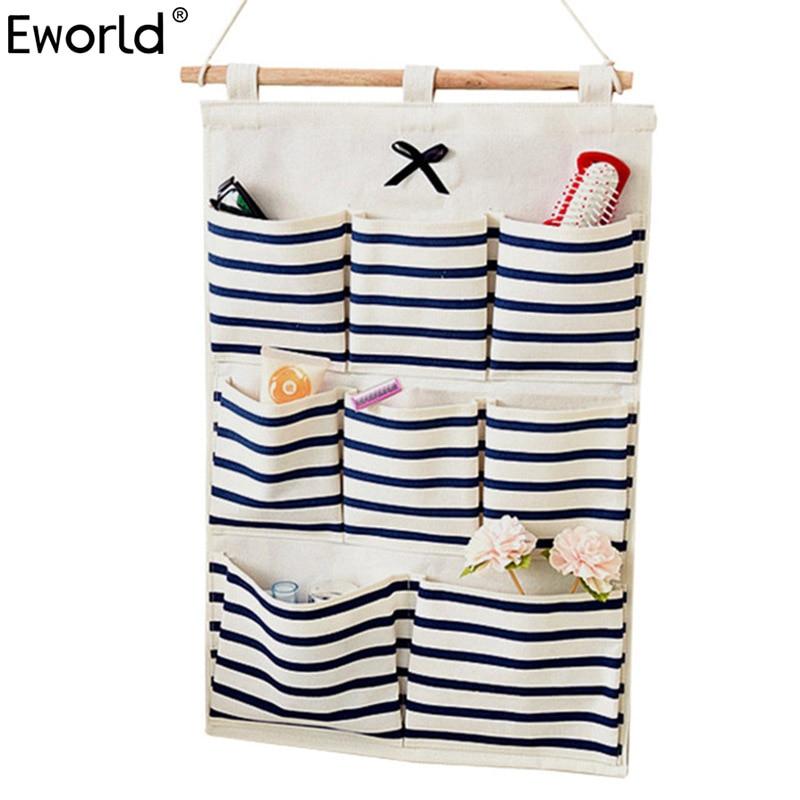 Eworld Bag Storage-Bag Organizer Makeup-Rack Wall-Hanging Home-Decoration Fundry Cotton