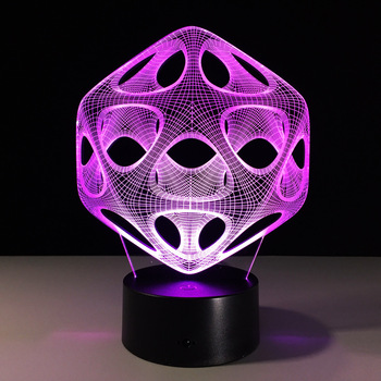 Abstract Touch switch 3D lamp Novelty Unique Art 3D Led Lamp Home Decor Light Fixtures Light Up 7 Colors Gift Light For Friends