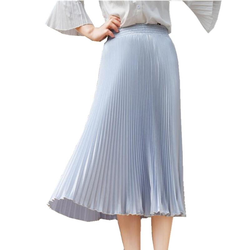 2017 Љето Нова Мода Стретцх Свијетле сукње на набор Жене А Лине Лонг Маки Фларе Парти Сукње Женске Саиа
