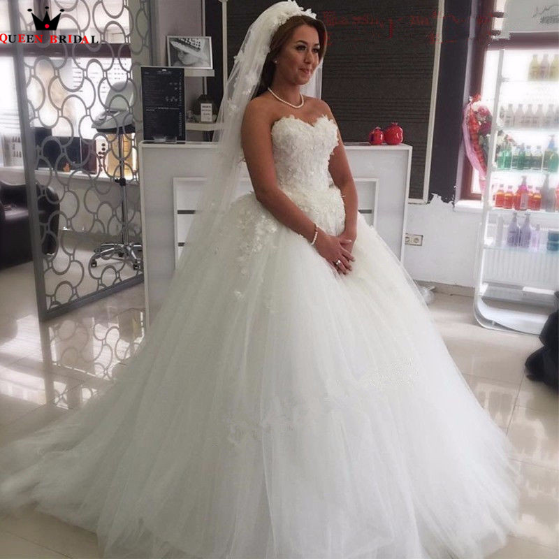 Elegant Wedding Ball Gowns: Custom Made Ball Gown Sweetheart Fluffy Tulle Lace Flowers