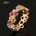 Venda quente Colorido Austrilian Anéis de Dedo de Cristal Rosa Banhado A Ouro Marca de Moda Do Vintage Jóia Do Casamento Para Mulheres DFR028