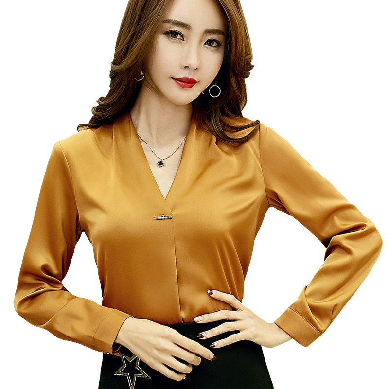 Pin Decor Lady Brown Chiffon Blouses Size S-XL Women Elegant Long Sleeve Clothing Girls V-Neck Casual Career Shirts For Spring ...