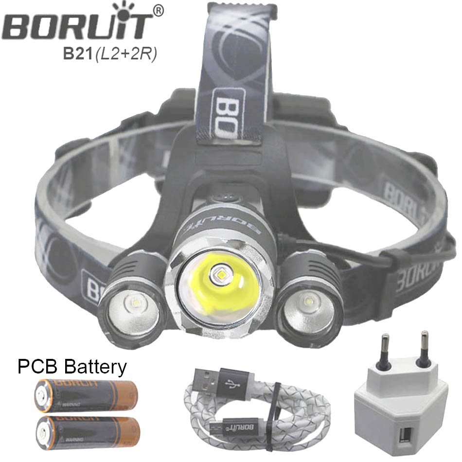 B21 9000LM L2 Cree LED Headlamp Waterproof Head light Camping Lamp Boruit led Lights by 18650 Battery With Usb Cable