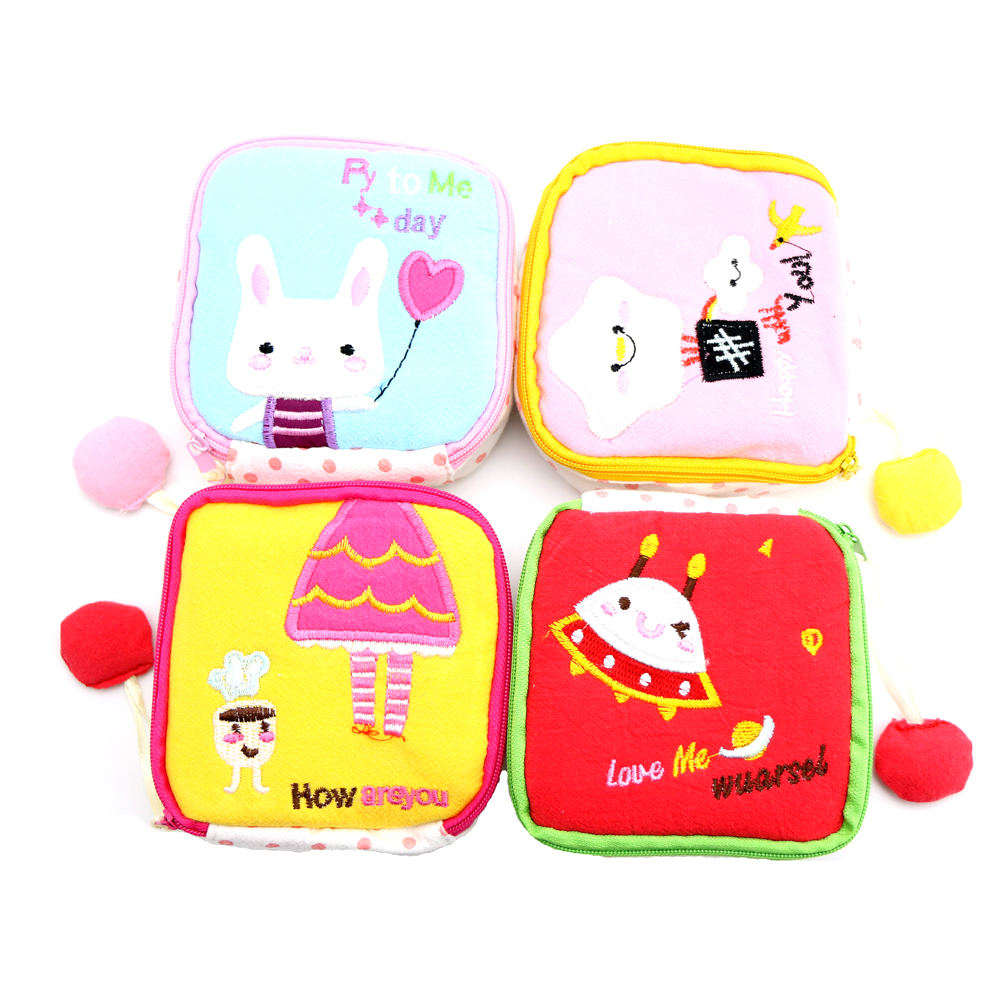 Cute Napkins Organizer Storage Cosmetic Bag Hold Sanitary Napkin Bag Case Cartoon Easy Small Articles Zipper napkins