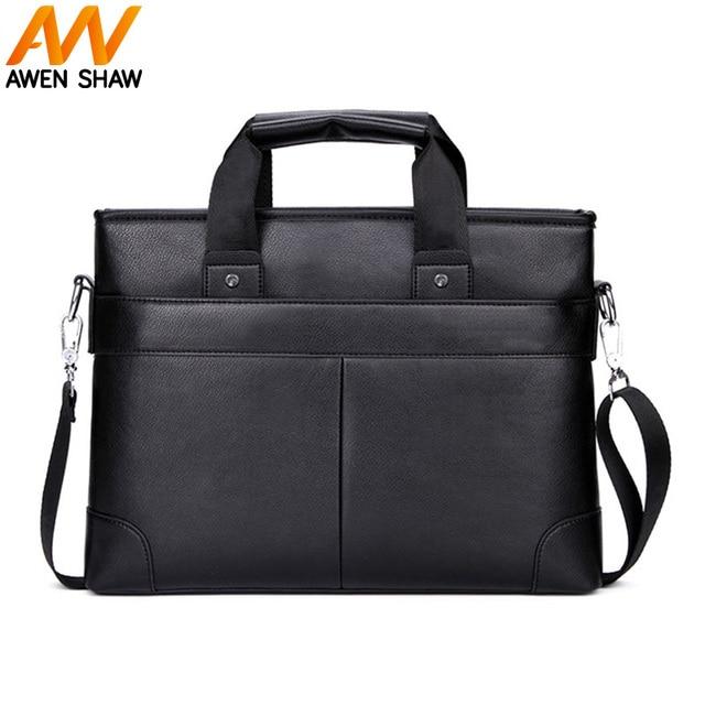 94e41590c009 AWEN SHAW New Dress Man Leather Man Handbag With Front Pocket Formal Men s  Shoulder Bag Business Laptop Bag Men Briefcase Bag