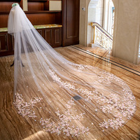 Bridal Veils Luxury Wedding long Cathedral veil for bride accessories Appliques Cut Edge mantilla DTS180411