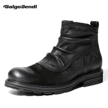 Retro Wrinkle Mens Genuine Leather Chelsea Boots  Zipper Ankle Boots Business Man Oxfords Winter Warm Plush Snow Boots