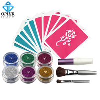 OPHIR 6 Colors Temporary Glitter Tattoo Kit For Body Art Paint With Stencil TA054
