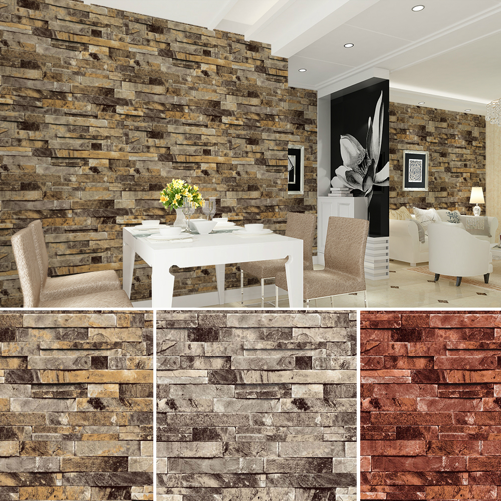 HaokHome PVC Vinyl Modern Faux Brick Stone 3D Wallpaper Living Room Bedroom Bathroom Home Wall Decoration053m10m Roll In Wallpapers From Improvement