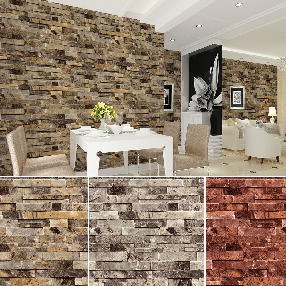 HaokHome PVC Vinyl Modern Faux Brick Stone 3D Wallpaper