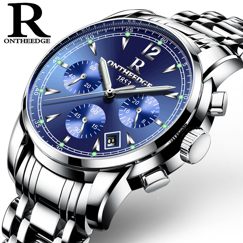 Mens watch blue black gold white quartz stainless steel male clocks luxury brand Business luminous calendar waterproof number