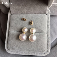 CMajor Pearl Jewelry Two Freshwater Pearls Stud Earrings For Women Fashion Jewelry Anti Allergy Gold Filled Stud Earring