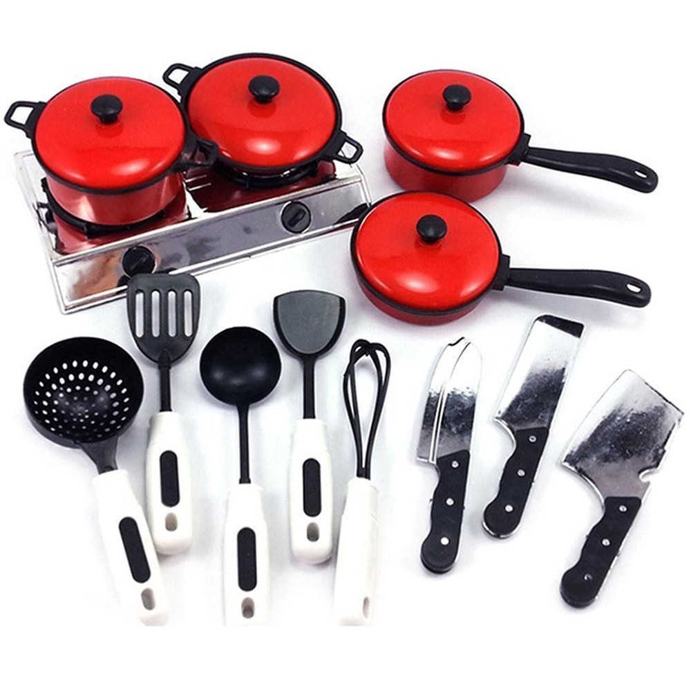 13 Pieces Children Mini Kitchen Cookware Pot Pan Kids Pretend Cook Play Toy Simulation Kitchen Utensils Toys Set Children gift