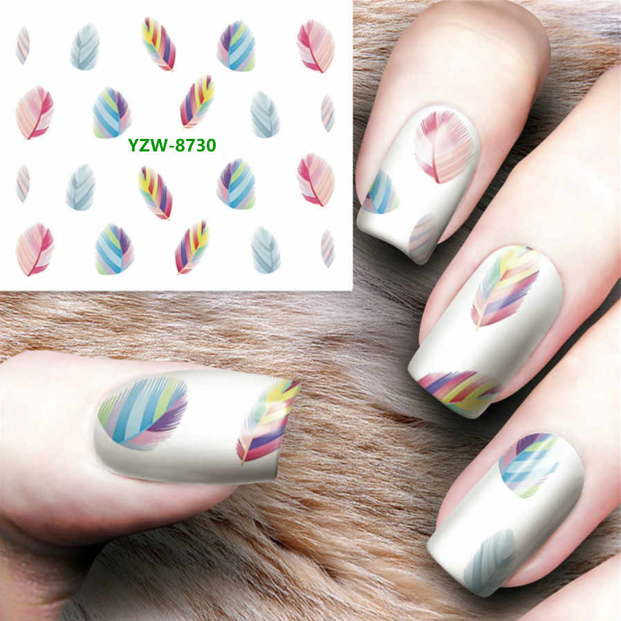 1PCS Nail Stickers on Nails Flower Stickers Feather Graffiti Lip Print Nails Nail Art Water Transfer Stickers Decals YZW8730-39