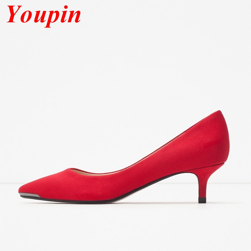 Spring New 2016 Classic OL Female Genuine Leather Fashion Shoes Pointed Toe Red Gray Heels Fashion