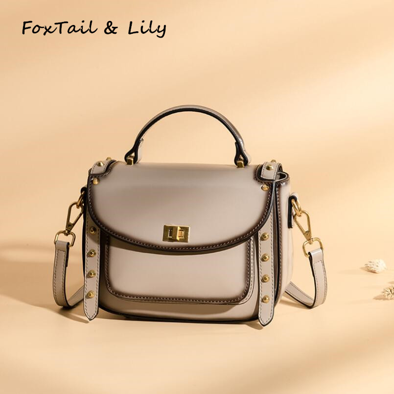 FoxTail & Lily Fashion Rivet Small Tote Shoulder Bag Women Genuine Leather Handbags Luxury Brand Ladies Crossbody Bags Hot Sale eimore brand genuine leather handbags women small simple tote bag luxury fashion ladies classic pattern leather shoulder bags
