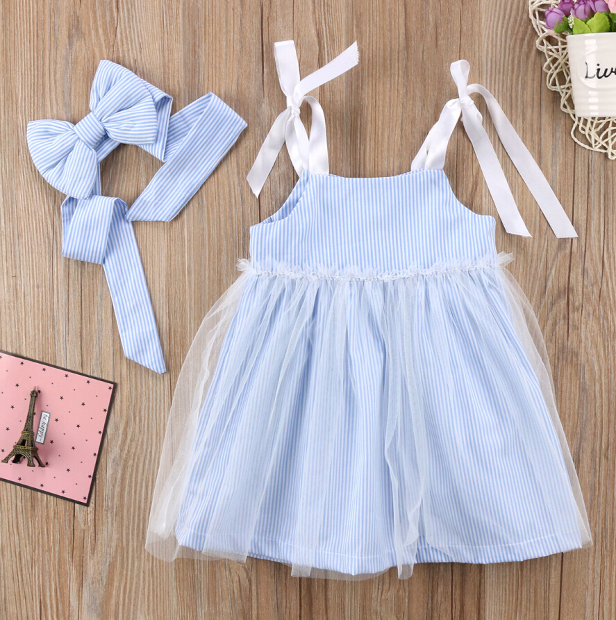 2Pcs Fashion Kids Baby Girl Stripes Lace Tulle Dress Summer Spaghetti Strap Dress Sundress+Headband Clothes Set scorpions – born to touch your feelings best of rock ballads cd