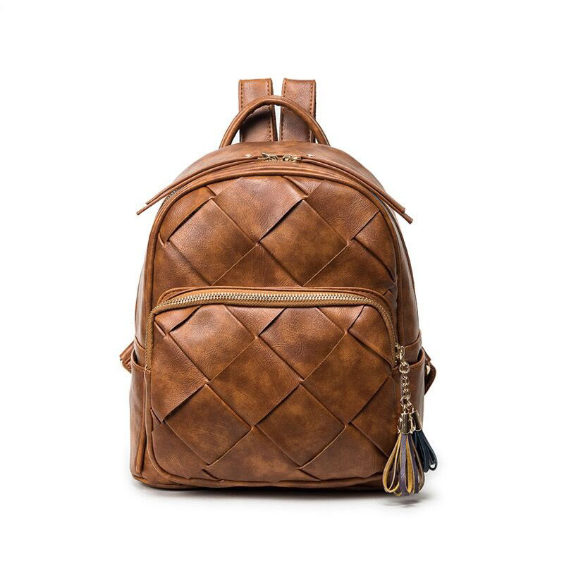 UNstyle Hot Retro Weave Backpacks Fashion Lingge Female Package Leisure Tassel Zipper Travel Backpacks Shoulder Bags