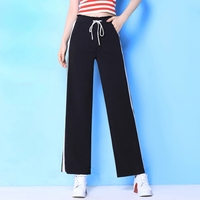 2018 Real Palazzo Pants Summer Thin Section Jeans Female Vertical Stripes Wide Leg Pants Waist Seven